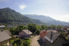 Leaving Jesenice, Slovenia, Sat 7 June 2014 - 0945.  Looking east.  The Bohinj line runs through rugged country, and has 32 tunnels and a maximum gradient of 2.4%.  The Bohnij (Piedicolle, Wocheiner, Podbrdo) tunnel is 6,339m long, and the line reaches its 534.3m summit in it.