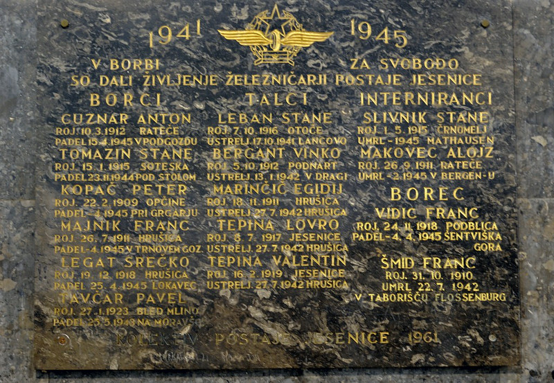 Jesenice railway staff war memorial, 1941 - 1945, Jesenice station, Slovenia, Sat 7 June 2014.
