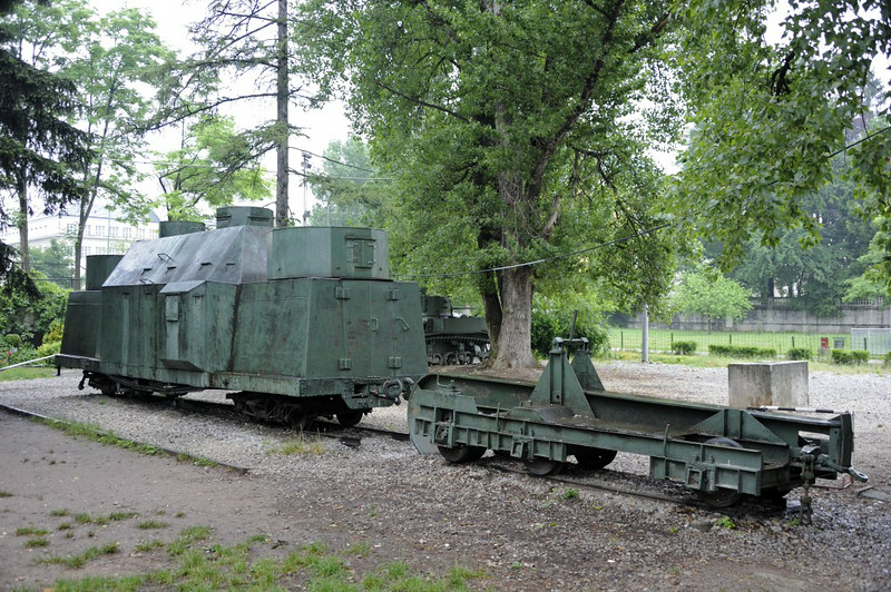 Converted 76cm gauge flat wagons, Sarajevo, Bosnia-Hercegovina, 14 June 2014.  These are in a park next to the national museum of Bosnia-Hercegovina, near the former Holiday Inn.