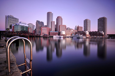 Long Exposure shot of Boston Harbor at sunrise.