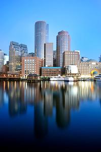 Vertical shot of Boston Skyline.