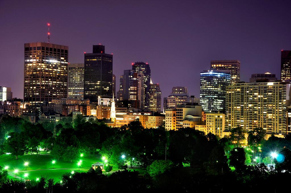 Boston Skyline and Boston Public Garden at Night.