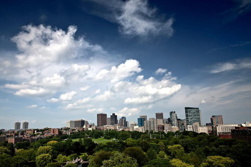 Cloudy Sky Over Boston Skyline.