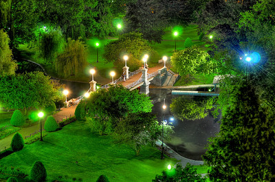 Boston Lagoon Bridge at night, Public Garden, Boston