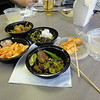 "Our lunch at work, very delicious original South East Asian: Kimchi, chicken with vegetables, beef with water spinach, beef with okra.  delivered by Szechuan's Dumpling in Arlington: <a href=""http://szechuans.weebly.com"">http://szechuans.weebly.com</a>"