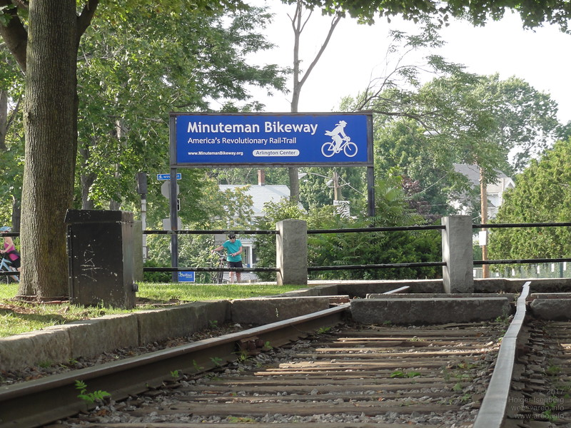 On the Minuteman Bikeway, the old railway track connecting Boston, Arlington and Lexington, every American can be revolutionary here today, just park the car and take a bike ride!