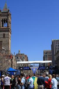 Busy Boylston Street during marathon expo