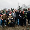 The Boston Bruins Foundation, joined by the Leominster Fire Department, was on hand to give out free Christmas trees to veterans at the Gardner's Spot in Leominster on Friday, December 8, 2017. SENTINEL & ENTERPRISE / Ashley Green