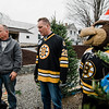 Owner Neil Zanni, former Bruins player Bob Sweeney and mascot Blades take a look at the crop as the Boston Bruins Foundation was on hand to give out free Christmas trees to veterans at the Gardner's Spot in Leominster on Friday, December 8, 2017. SENTINEL & ENTERPRISE / Ashley Green
