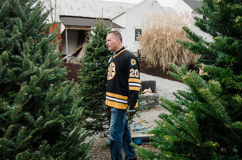 Former Bruins player Bob Sweeney scopes out the trees while joining the Boston Bruins Foundation in giving out free Christmas trees to veterans at the Gardner's Spot in Leominster on Friday, December 8, 2017. SENTINEL & ENTERPRISE / Ashley Green