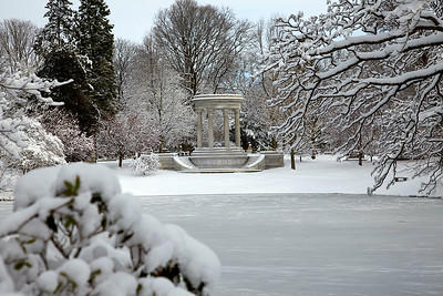 Halcyon Lake and Mary Baker Eddy Monument in Mt. Auburn Cemetery