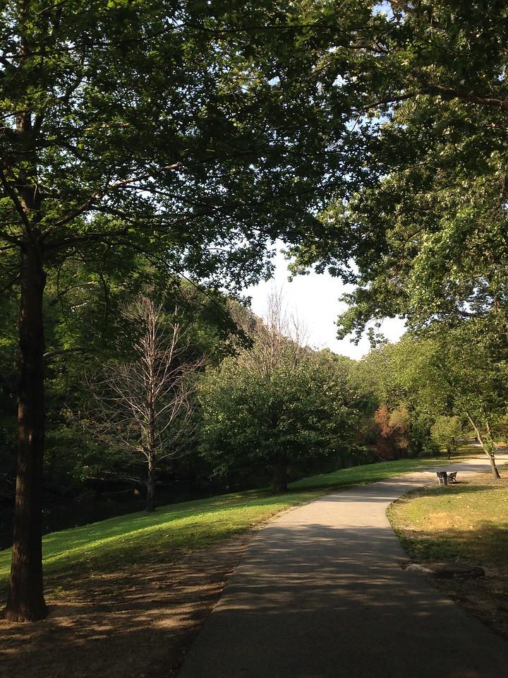 Walking path through the Riverway.