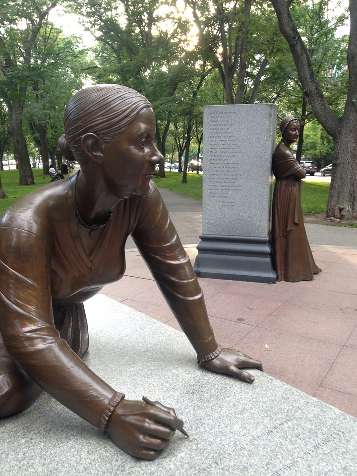 Sculpture of Lucy Stone at the Boston Women's Memorial.