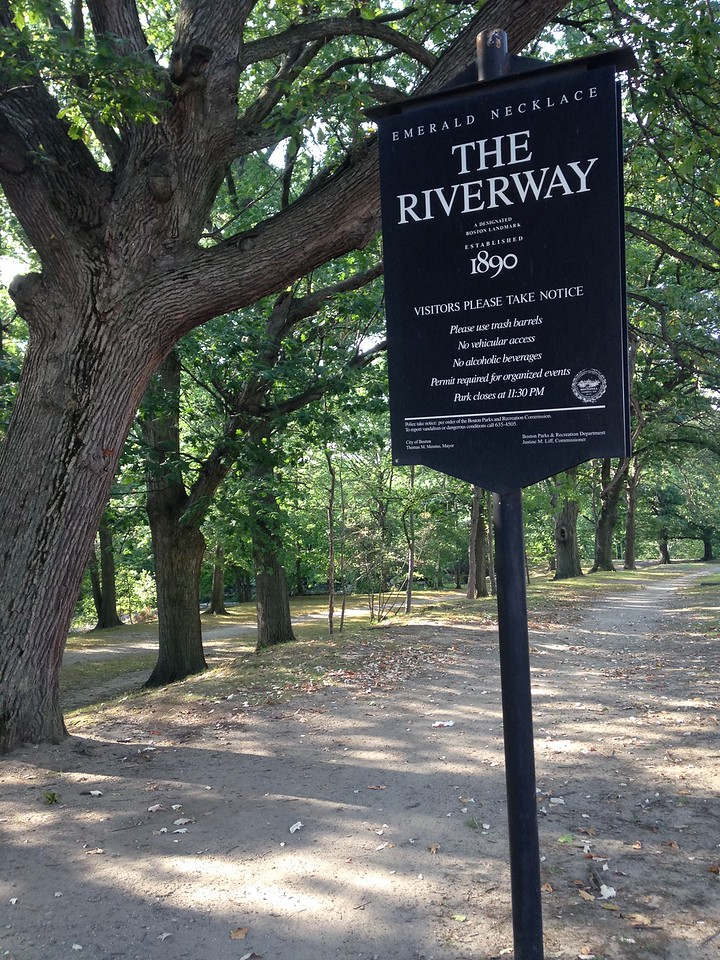 Entrance to the Riverway, one of the parks that runs along the Muddy River. The Muddy River drains from Jamaica Pond and flows out to the Charles River.