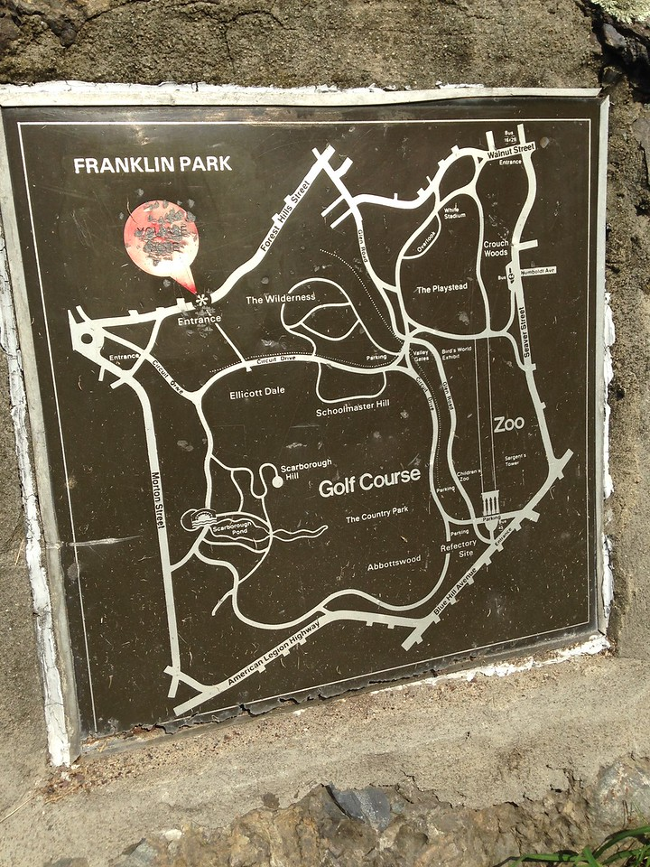 Map of Franklin Park, showing the Golf Course and Zoo.