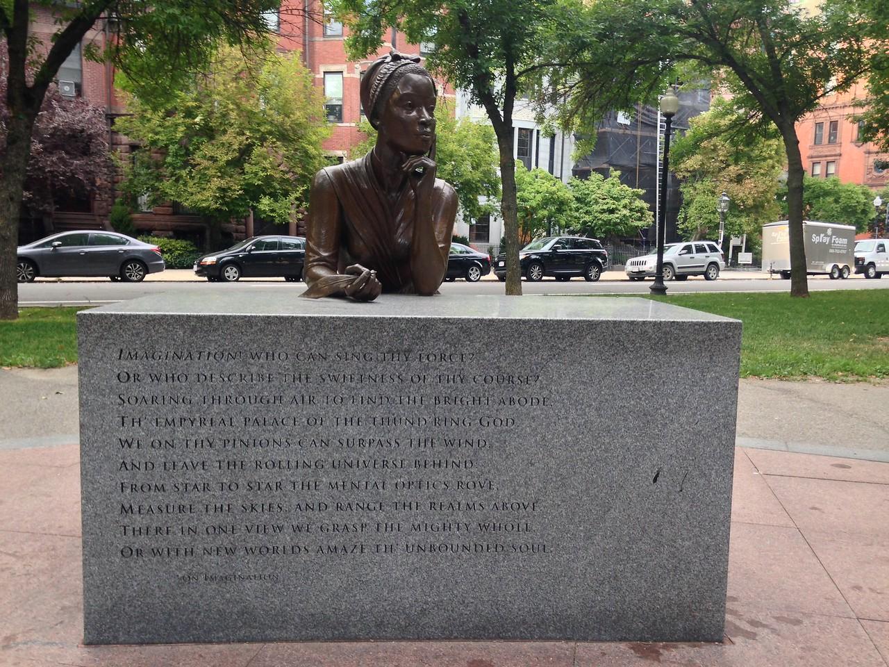 Sculpture of Phillis Wheatley at the Boston Women's Memorial.