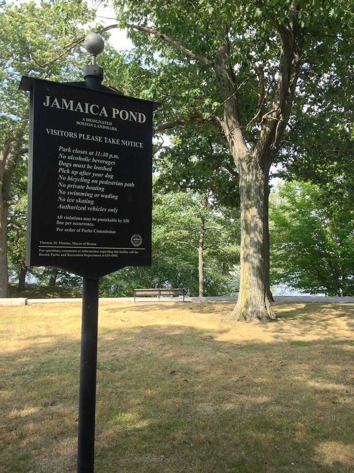 Entrance to Jamaica Pond. Surrounded by trees, biking and walking paths, Jamaica Pond is a nice place for a walk.
