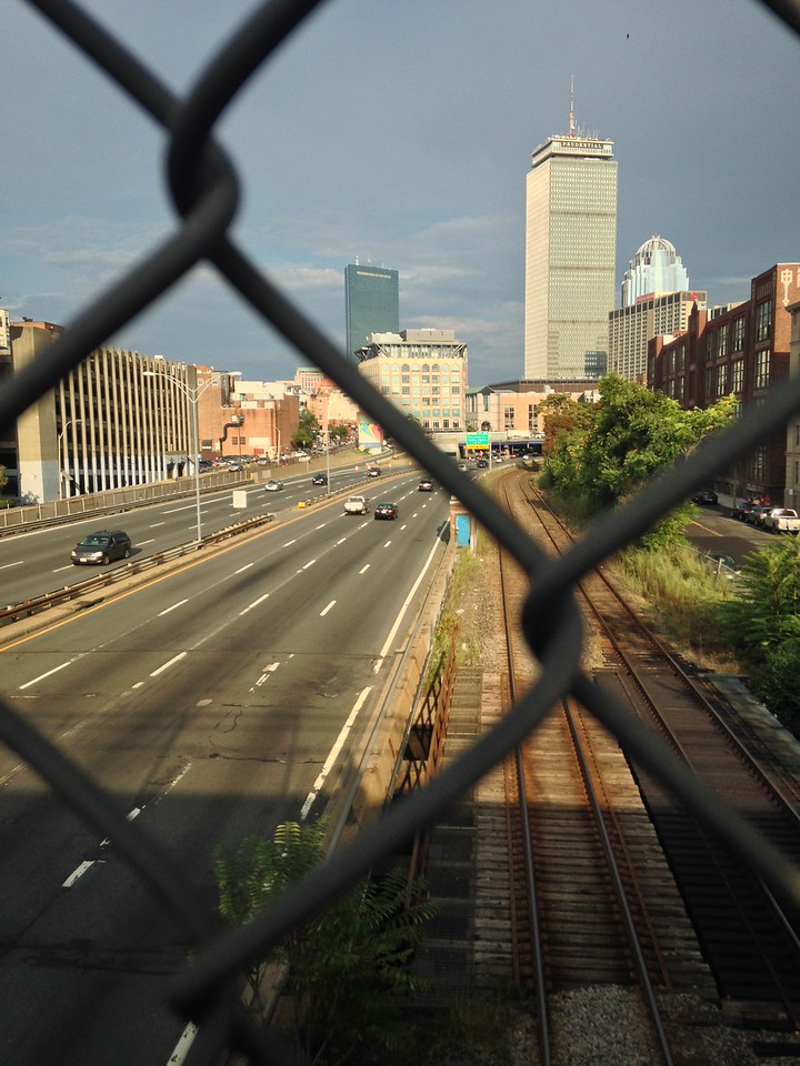 View down the Mass Pike towards Copley Square.