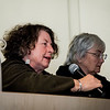 Barbara Zang, of Worcester, asks a question of Boston Globe Spotlight reporter Mike Rezendes during the discussion on 'The Power of Journalism in a Perilous Age'  at Fitchburg State University on Wednesday, April 12, 2017. SENTINEL & ENTERPRISE / Ashley Green