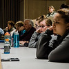 Students and faculty at Fitchburg State University listen in to a discussion on 'The Power of Journalism in a Perilous Age' by Boston Globe Spotlight reporter Mike Rezendes on Wednesday, April 12, 2017. SENTINEL & ENTERPRISE / Ashley Green