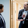 History Professor Ben Lieberman speaks with Boston Globe Spotlight reporter Mike Rezendes following 'The Power of Journalism in a Perilous Age' discussion at Fitchburg State University on Wednesday, April 12, 2017. SENTINEL & ENTERPRISE / Ashley Green