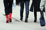 Here is an example of the shoes the women wore around town, almost every women had boots with LARGE heels.