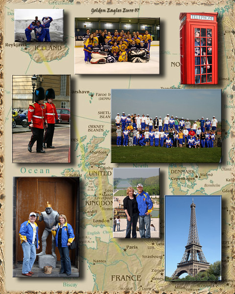 I just tossed a few pics from the blog into this to show the possiblities of the picture with the background.  Tried to keep the Cities that we visited so you were able to see where we went.<br /> <br /> Shown here is Falls in Iceland, Team Picture, Group Picture in Scotland, Guards at Buckingham Palace, Phone Booth in London, the Tour of the Castle in Edinburgh Scotland, the Garden in Versaille and the Eifle Tower in Paris