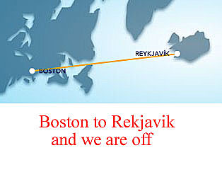 "<font color=""blue""> Tuesday April 10<font color=""white"">  Tues Night Departure, be at the airport by 7 pm - Flight Departs 9:30 pm and arrive 2:30 am Boston time  Thats 6:30 am Iceland Time (4 hrs Difference)  Wednesday Crew leaves same time but on Wednesday from Boston.    <font color=""red"">See you in ICELAND <font color=""white"">"