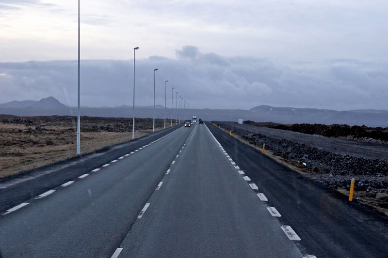 The road to Rekjavik from the airport. It is about a 45 min drive, the Blue Lagoon is not far from the airport.
