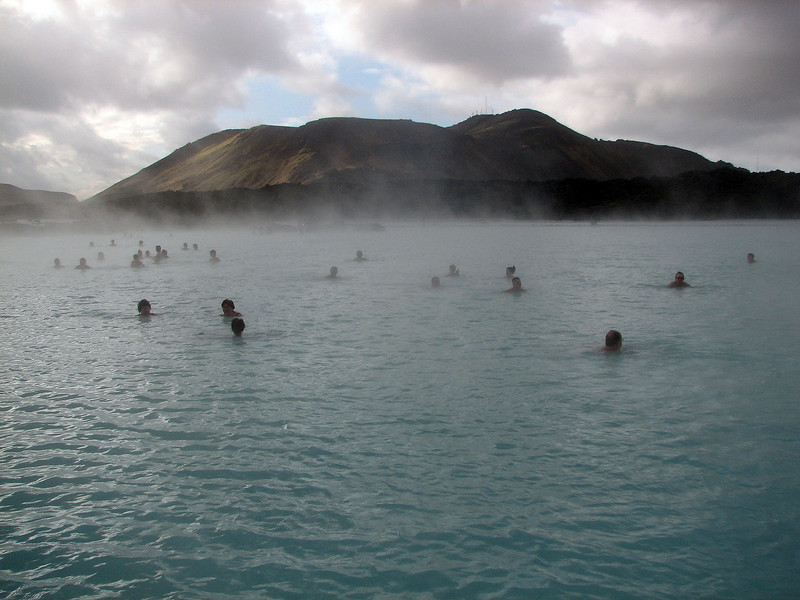 It started off bleak but the blue sky started to peak through and the blue lagoon lived up to its name before we had to get out.