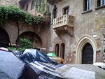 Romeo and Juliette balcony in rain soaked Verona.
