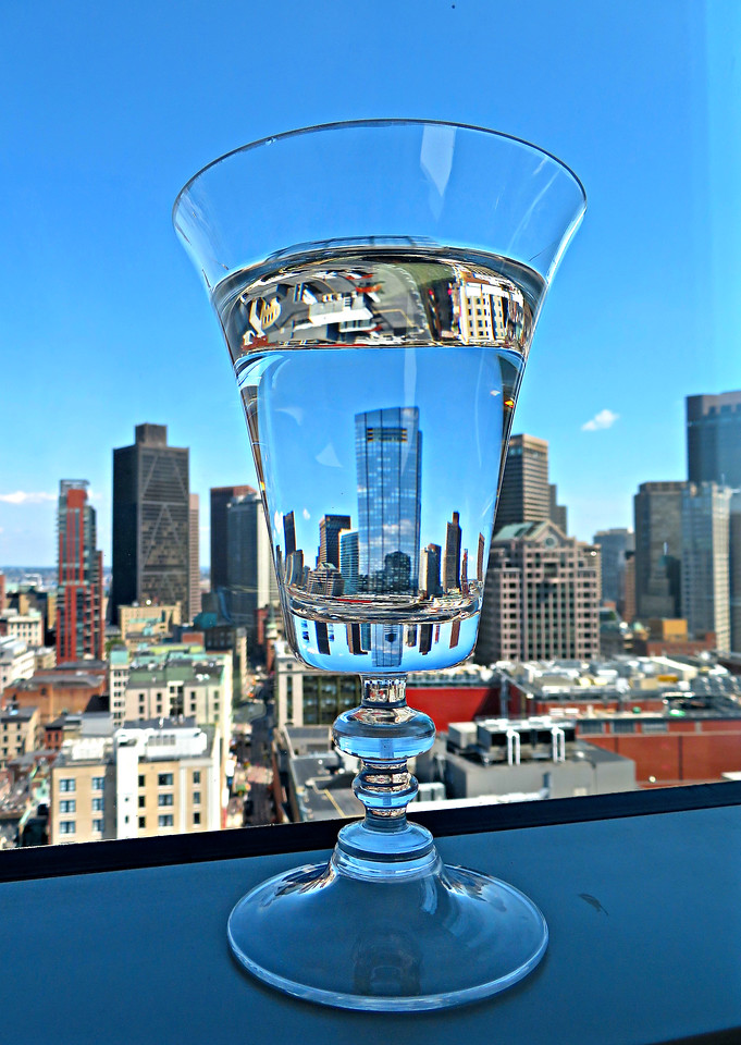 Boston Skyline Under Glass