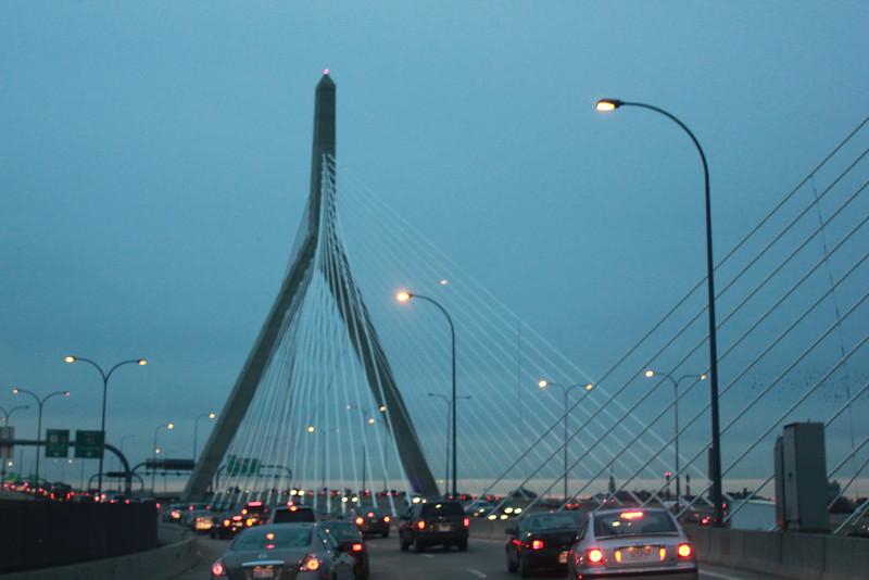 Leonard P. Zakim Bunker Hill Memorial Bridge at dusk ~ Boston, MA
