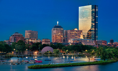 Boston Skyline as seen from Longfellow Bridge, Cambridge, Massachusetts