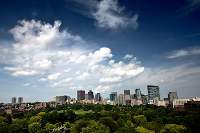 Cloudy Sky Over Boston Skyline.