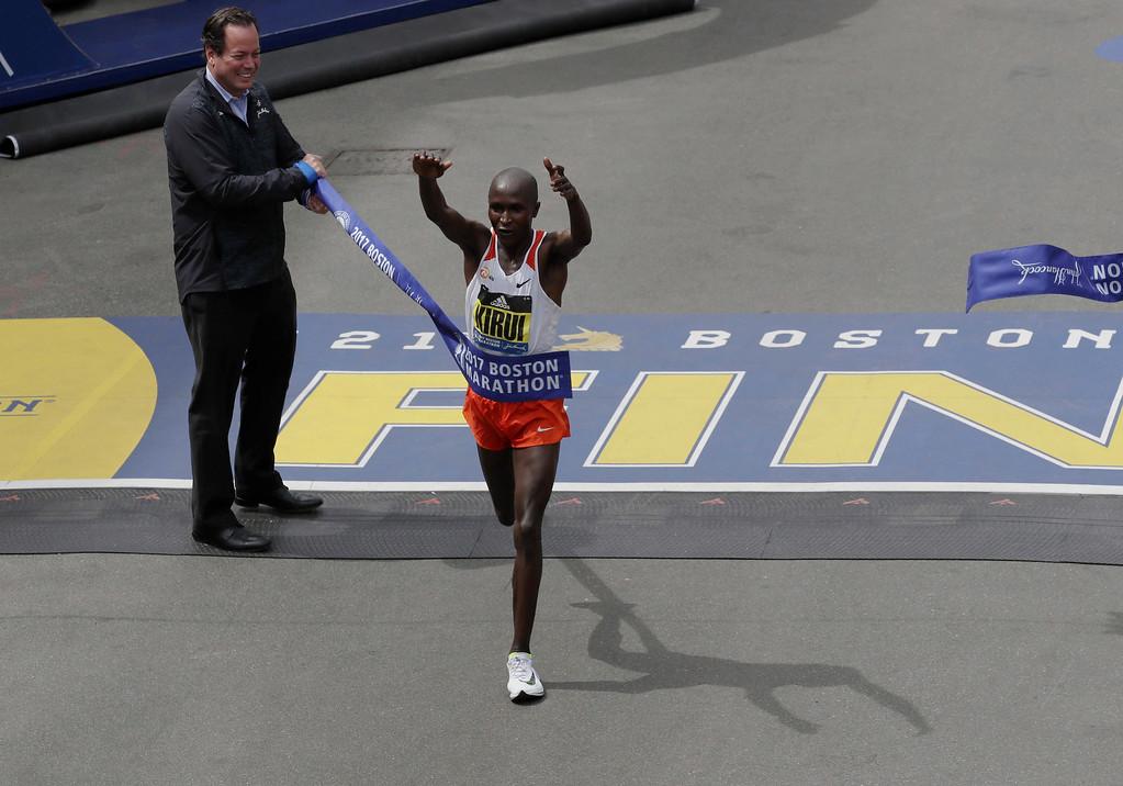 . Geoffrey Kirui, of Kenya, crosses the finish line to win the 121st Boston Marathon on Monday, April 17, 2017, in Boston. (AP Photo/Charles Krupa)