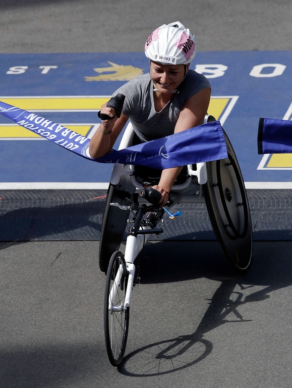. Manuela Schar, of Switzerland, wins the women\'s wheelchair division in the 121st Boston Marathon on Monday, April 17, 2017, in Boston. (AP Photo/Charles Krupa)
