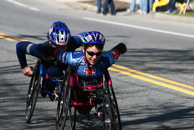 Amanda McGrory, 3rd in Women's Wheelchair followed by Shirley Reilly, 4th