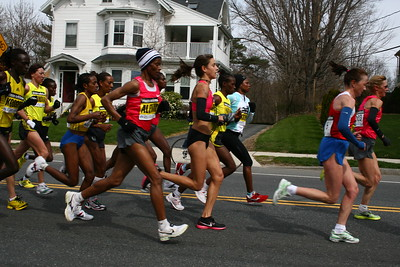 Women's Elite group.  1st place went to Salina Kosgei (Last on the left), 3rd went to Kara Goucher (5th from the right). 2nd went to Dire Tune- who is probably there somewhere