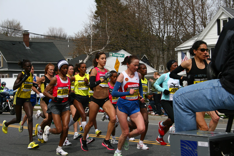 Women's Elite group.  1st place went to Salina Kosgei (Last on the left), 3rd went to Kara Goucher (6th from the right). 2nd went to Dire Tune- who is probably there somewhere