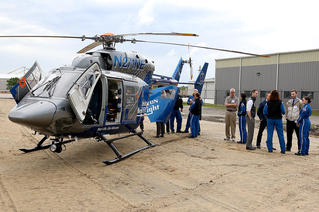 . one of the Boston Med Flight helicopter on display for people to see after the ground breaking ceremony on Wednesday morning at Hanscom Field, Bedford. On June 7, 2017 BMF held a ground breaking ceremony for a new headquarters and Critical Care Transport Operations Facility at Hanscom. SUN/JOHN LOVE