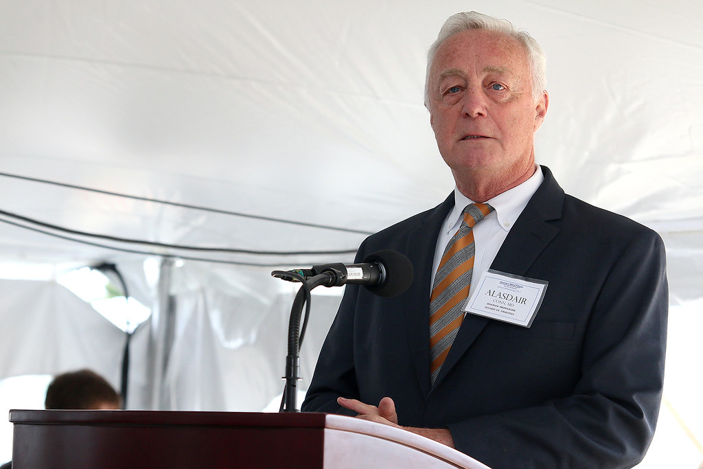 . Alasdair Conn MD addresses the crowd at the ground breaking ceremony on Wednesday morning at Hanscom Field, Bedford. On June 7, 2017 Boston Med Flight held a ground breaking ceremony for a new headquarters and Critical Care Transport Operations Facility at Hanscom. SUN/JOHN LOVE