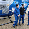 RN's with Boston Med Flight, from left, Juliana Lavopa, KatelinMaguire and Beth Mee chat as they wait for people to ask about their helicopter after the ground breaking ceremony on Wednesday morning, June 7, 2017. BMF held a ground breaking ceremony for a new headquarters and Critical Care Transport Operations Facility at Hanscom Field, Bedford. SUN/JOHN LOVE