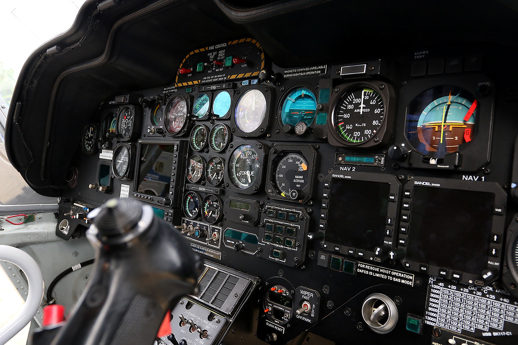 . The Cockpit of one of the Boston Med Flight\'s helicopters that was on display at the groound breaking ceremony on June 7, 2017 at Hanscom in Bedford.