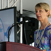 MA Secretary of Health & Human Services Marylou Sudders addresses the crowd at the ground breaking ceremony on Wednesday morning at Hanscom Field, Bedford. On June 7, 2017 Boston Med Flight held a ground breaking ceremony for a new headquarters and Critical Care Transport Operations Facility at Hanscom. SUN/JOHN LOVE