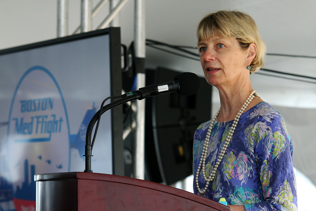 . MA Secretary of Health & Human Services Marylou Sudders addresses the crowd at the ground breaking ceremony on Wednesday morning at Hanscom Field, Bedford. On June 7, 2017 Boston Med Flight held a ground breaking ceremony for a new headquarters and Critical Care Transport Operations Facility at Hanscom. SUN/JOHN LOVE