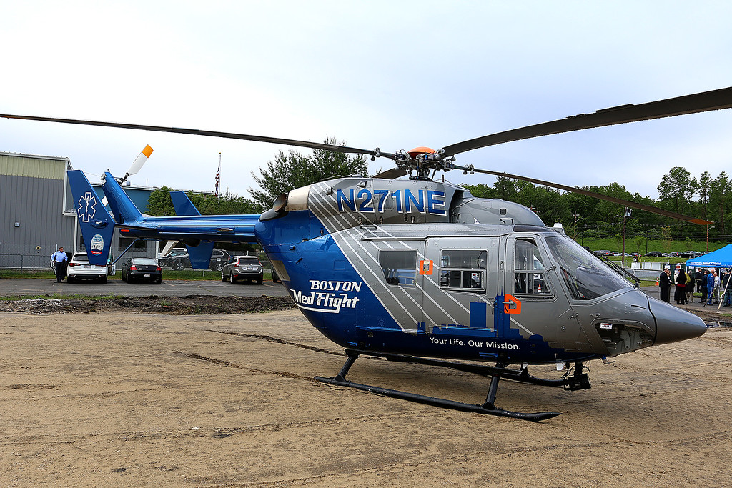 . The Bosoton Med Flight helicopter that was on display at their ground breaking ceremony on June 7, 2017. SUN/JOHN LOVE
