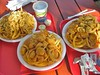 Clam Box's finherman's platter with fried clams, scallops, shrimp and haddock.  Scallop platter and fried clam platter