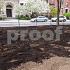 Mulch ready to be mixed in with the air spade.