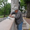restoration work on Shaw Memorial